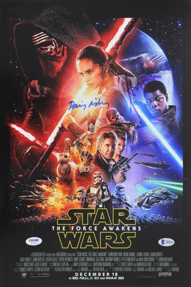 Daisy Ridley & Harrison Ford The Force Awakens Signed 12x18 Poster BAS #A85020