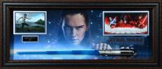 "Daisy Ridley Rey Framed Autographed 45"" x 20"" x 4"" Star Wars Light Saber Collage - BAS"