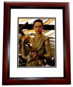 Daisy Ridley Signed - Autographed Star Wars: The Force Awakens Episode 7 REY 8x10 inch Photo MAHOGANY CUSTOM FRAME - Guaranteed to pass PSA or JSA