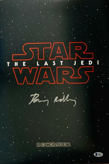 Daisy Ridley Signed Star Wars 12x18 Movie Poster Photo - Rey Beckett BAS COA 9
