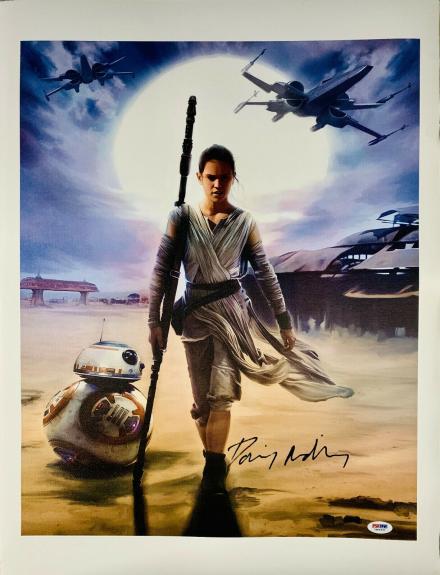 Daisy Ridley Signed Star Wars 16x20 Canvas Photo Artist BB8 - Rey PSA DNA COA