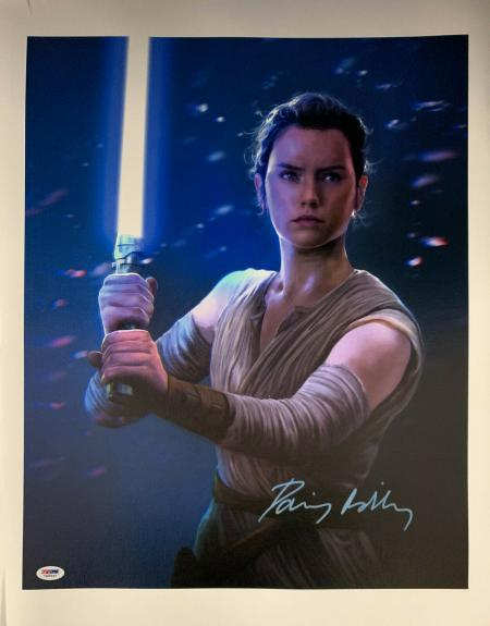 Daisy Ridley Signed Star Wars 16x20 Canvas Photo Artist - Rey PSA DNA COA
