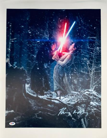 Daisy Ridley Signed Star Wars 16x20 Canvas Photo Kylo Ren - Rey PSA DNA COA