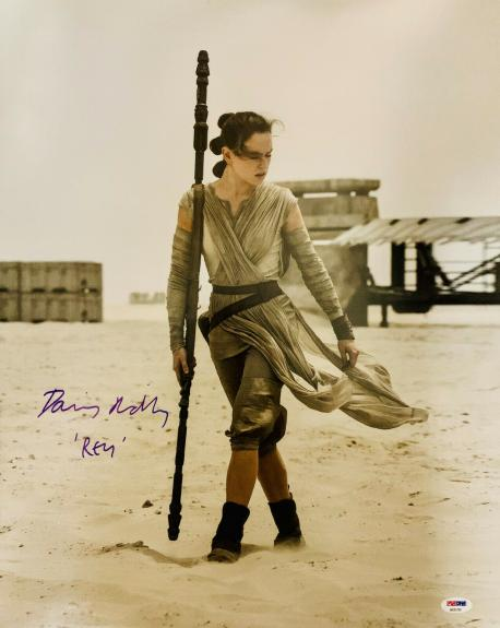 "Daisy Ridley Signed Star Wars Inscribed ""Rey"" 16x20 Photo - Rey PSA DNA COA"