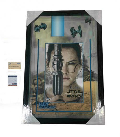 Daisy Ridley Signed Star Wars Rey 20x30 Light Up Framed Poster PSA & Steiner COA