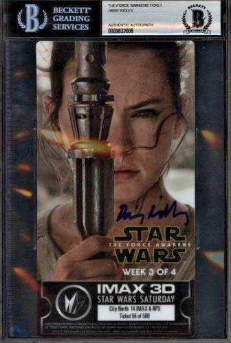 Daisy Ridley Signed Star Wars The Force Awakens IMAX Ticket Rey - Beckett BAS