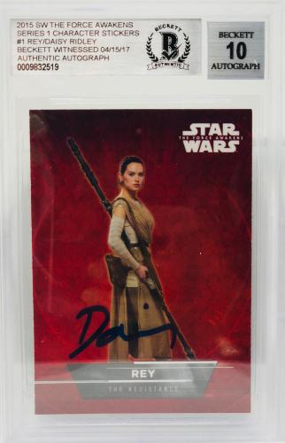 Daisy Ridley Signed Star Wars The Force Awakens Topps Rey - BAS Graded 10 #1/18