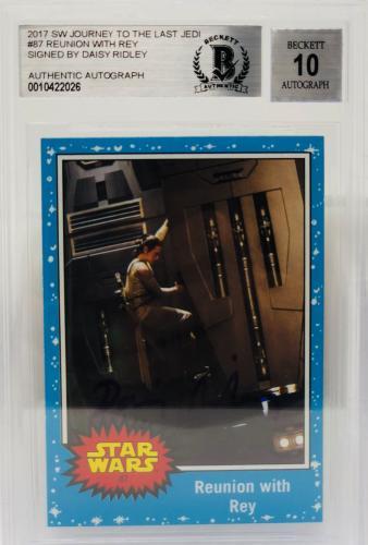 Daisy Ridley Signed Star Wars The Last Jedi Topps Rey - Beckett BAS Grade 10 #17