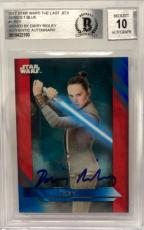 Daisy Ridley Signed Star Wars The Last Jedi Topps Rey - Beckett BAS Graded 10 #1