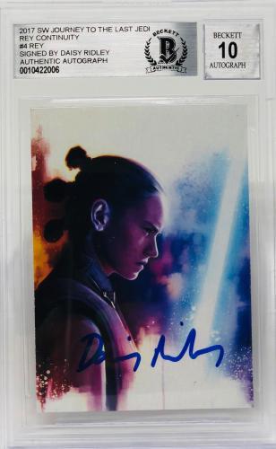 Daisy Ridley Signed Star Wars The Last Jedi Topps Rey - Beckett BAS Graded 10 #4