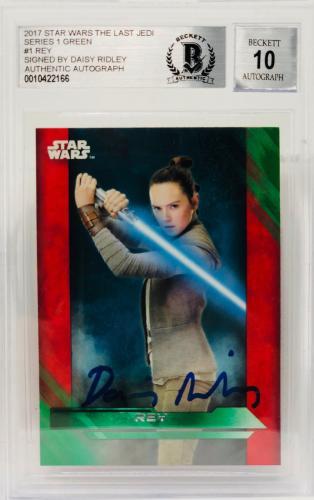 Daisy Ridley Signed Star Wars The Last Jedi Topps Rey - Beckett BAS Graded 10 GR