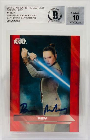 Daisy Ridley Signed Star Wars The Last Jedi Topps Rey - Beckett BAS Graded 10 RD