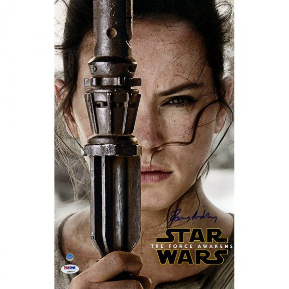Daisy Ridley Signed Star Wars VII: The Force Awakens 10x16 Close Up Movie Poster (PSA/DNA & SSM)