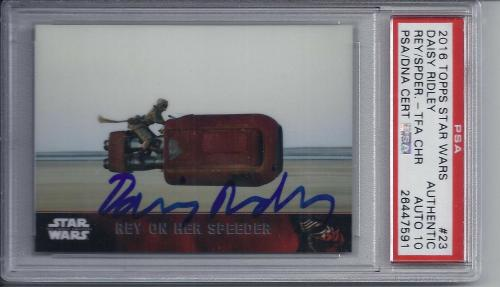 Daisy Ridley Signed Topps STAR WARS Trading Card - PSA DNA 10