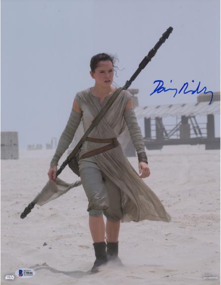 "Daisy Ridley Star Wars Autographed 11"" x 14"" The Force Awakens on Jakku Planet Photograph - Beckett"