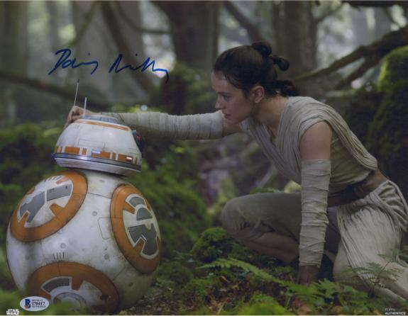 """Daisy Ridley Star Wars Autographed 11"""" x 14"""" The Force Awakens with BB-8 Photograph - Beckett"""