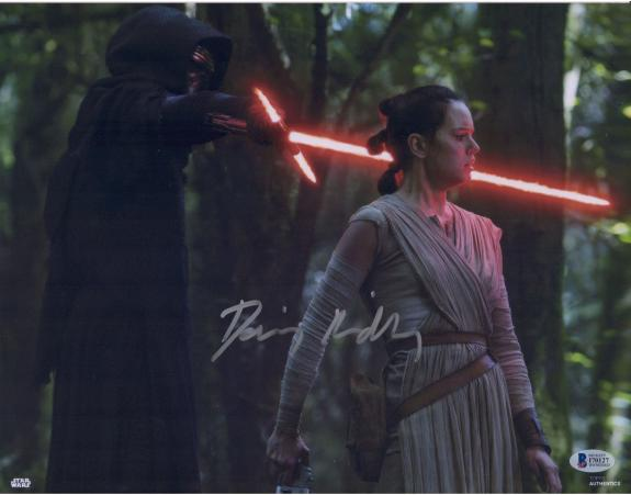 "Daisy Ridley Star Wars Autographed 11"" x 14"" The Force Awakens with Kylo Ren Lightsaber to Rey's Neck Photograph - Beckett"