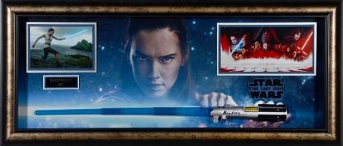"""Daisy Ridley Star Wars Framed Autographed 45"""" x 20"""" x 4"""" Light Saber Collage - PSA/DNA"""