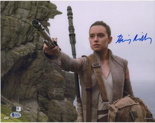 "Daisy Ridley The Force Awakens Autographed 12"" x 18"" Holding Light Saber Photograph - BAS"