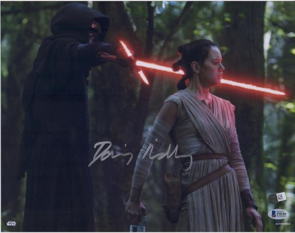 "Daisy Ridley The Force Awakens Autographed 12"" x 18"" Photograph - BAS"