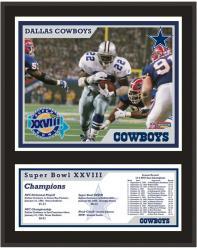 """Dallas Cowboys Super Bowl XXVIII Sublimated 12"""" x 15"""" Plaque"""