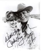 "DALLAS"" Signed by LINDA GRAY as SUE ELLEN EWING and HOWARD KEEL as CLAYTON FARLOW 8x10 B/W Photo"