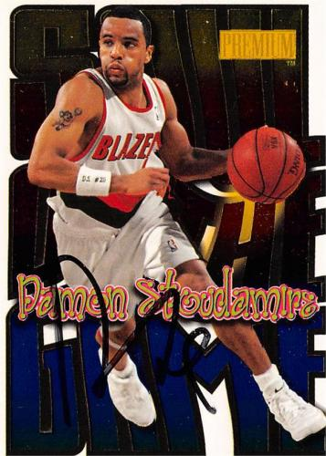 Damon Stoudamire autographed Basketball Card (Portland Trailblazers) 1998 Skybox Soul of the Game #13SG