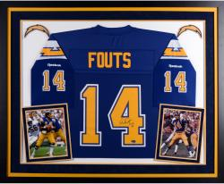 Dan Fouts San Diego Chargers Autographed Deluxe Framed Navy Reebok Jersey with HOF 1993 Inscription