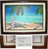 Dan Mackin and Brian Wilson Signed - Autographed SURFER GIRL 44x29 inch Giclee Canvas Print - Limited Edition #76/500 - Bamboo Wood Frame measures 55x40 inches - Custom Framed - Beach Boys - PSA/DNA Certificate of Authenticity (COA)