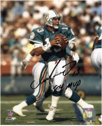 "Dan Marino Miami Dolphins Autographed 8"" x 10"" Black Ink Photograph with 84 MVP Inscription"