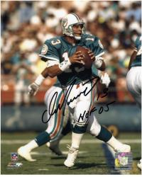 "Dan Marino Miami Dolphins Autographed 8"" x 10"" Passing Photograph with HOF 05 Inscription"
