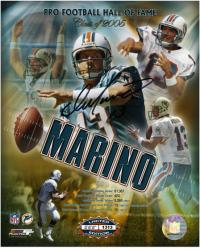 Miami Dolphins Dan Marino Signed Hall of Fame 8'' x 10'' Photo - Mounted Memories