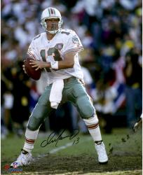 "Dan Marino Miami Dolphins Autographed 16"" x 20"" Vertical in White Jersey 75th Anniversary Patch Photograph"