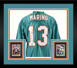 "Framed Dan Marino Miami Dolphins Autographed Custom Teal Jersey with ""HOF 05"" Inscription"
