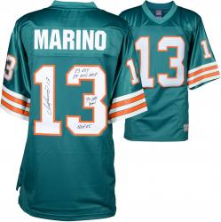 Dan Marino Miami Dolphins Autographed Teal Jersey with Multiple Inscriptions - #13 of a Limited Edition of 13