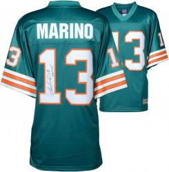 Dan Marino Miami Dolphins Autographed Teal Pro-Line Authentic Jersey with HOF 05 Inscription