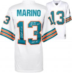 Dan Marino Miami Dolphins Autographed White Jersey with Multiple Inscriptions - #13 of a Limited Edition of 13