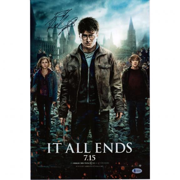 "Daniel Radcliffe Harry Potter Autographed 12"" x 18""  Deathly Hallows Part 2 Movie Poster - BAS"