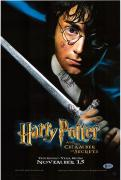 """Daniel Radcliffe Harry Potter Autographed 12"""" x 18"""" The Chamber of Secrets Movie Poster - BAS"""