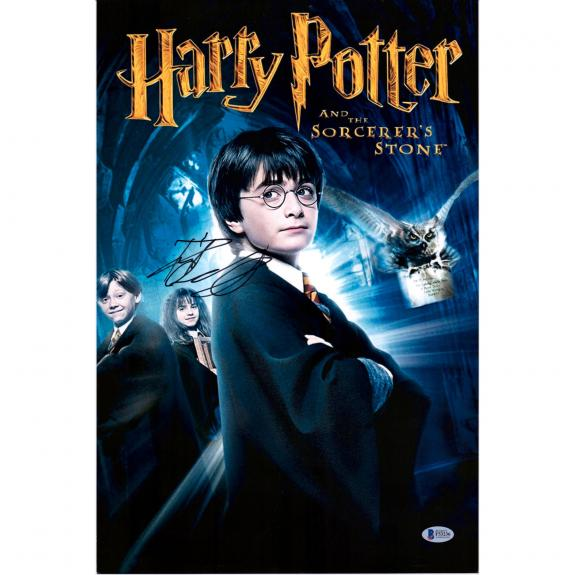 "Daniel Radcliffe Harry Potter Autographed 12"" x 18"" The Sorcerer's Stone Movie Poster - BAS"