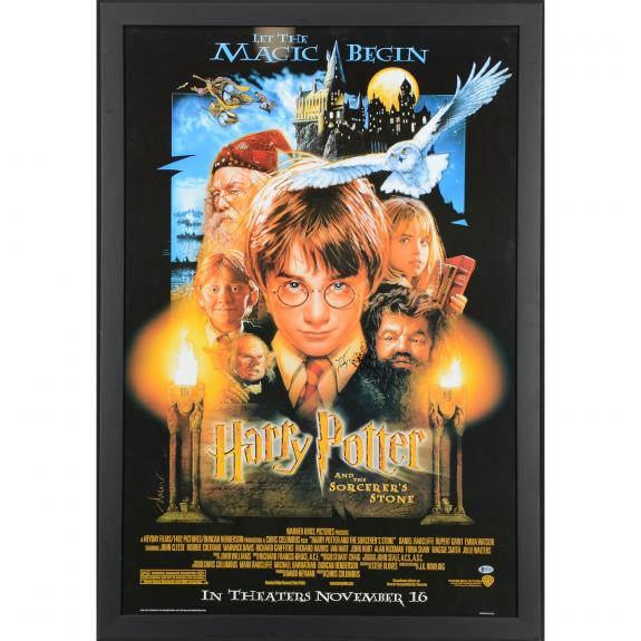 "Daniel Radcliffe Harry Potter Framed Autographed 30"" x 44"" The Sorcerer's Stone Poster - BAS"