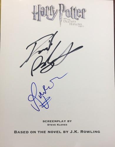 """Daniel Radcliffe Rupert Grint Signed Autograph """"harry Potter 7"""" Dh1 Movie Script"""