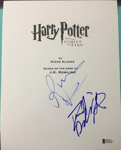DANIEL RADCLIFFE RUPERT GRINT SIGNED AUTOGRAPH HARRY POTTER GoF MOVIE SCRIPT BAS