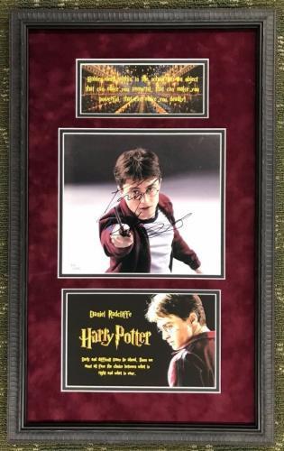 DANIEL RADCLIFFE signed 8x10  HARRY POTTER custom framed display- JSA COA