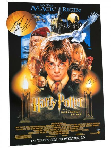 Daniel Radcliffe Signed Auto Harry Potter Fs Movie Poster Beckett Bas Coa 12