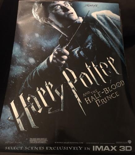 """DANIEL RADCLIFFE SIGNED AUTOGRAPH """"HARRY POTTER HBP"""" ORIGINAL 27x40 MOVIE POSTER"""