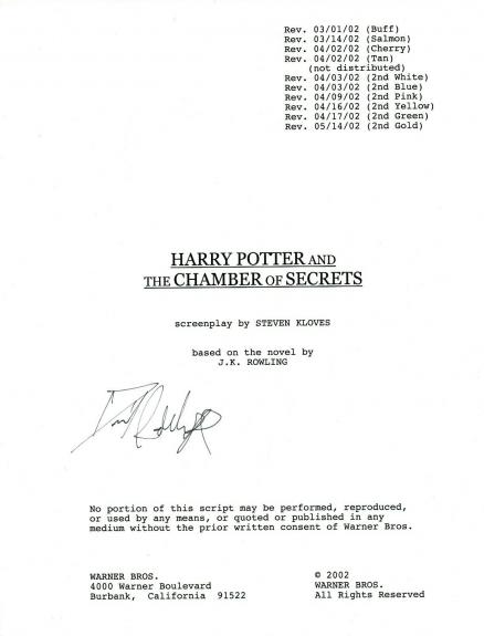 Daniel Radcliffe Signed HARRY POTTER AND THE CHAMBER OF SECRETS Script COA