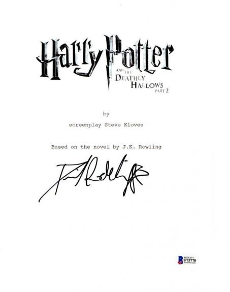 Daniel Radcliffe Signed Harry Potter And The Deathly Hallows Part 2 Script Proof