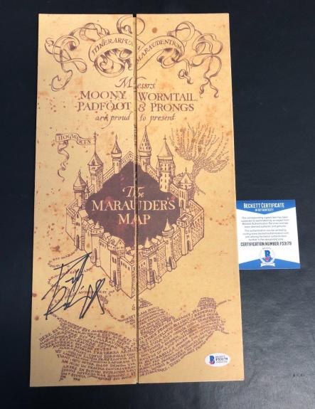 Daniel Radcliffe Signed Harry Potter Marauders Map Authentic Autograph Beckett
