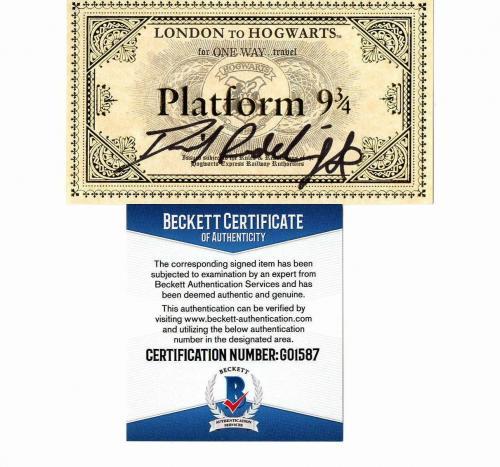 Daniel Radcliffe Signed Hogwarts Train Ticket Harry Potter Autograph Bas Coa